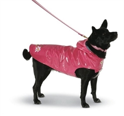 Daisy Pink Nantucket Slicker  Our stylish rain slickers are perfect rainy day attire. Hoods provide extra protection and style. Slickers have a classic ticking stripe lining. Beautiful embroidery decorates the sturdy material, and is completely waterproof. Velcro closures make dressing a snap. Extra collar patch for attaching a leash under the hood.  Outer fabric is 100% polyurethane, Lining is 70% cotton/ 30% polyester. Fabric content is 100% polyester. Machine wash with like colors, lay flat to dry. Imported