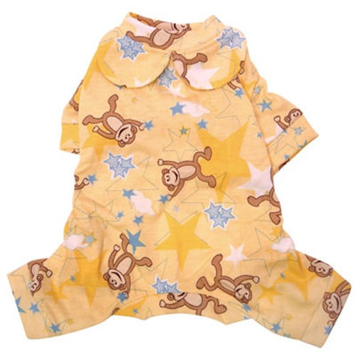 Dancing Monkey & Stars Cotton  Dog Pajamas - klip-monkeys-pj