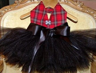 Designer Holiday Tutu Dresses -  Red Plaid & Black