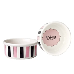 Diva Stripes Dog Dish Our stoneware dog bowls are designed to look great and function even better.