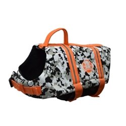 Doggy Life Jacket in Gray Camo & Orange dog bowls,susan lanci, puppia,wooflink, luxury dog boutique,tonimari,pet clothes, dog clothes, puppy clothes, pet store, dog store, puppy boutique store, dog boutique, pet boutique, puppy boutique, Bloomingtails, dog, small dog clothes, large dog clothes, large dog costumes, small dog costumes, pet stuff, Halloween dog, puppy Halloween, pet Halloween, clothes, dog puppy Halloween, dog sale, pet sale, puppy sale, pet dog tank, pet tank, pet shirt, dog shirt, puppy shirt,puppy tank, I see spot, dog collars, dog leads, pet collar, pet lead,puppy collar, puppy lead, dog toys, pet toys, puppy toy, dog beds, pet beds, puppy bed,  beds,dog mat, pet mat, puppy mat, fab dog pet sweater, dog sweater, dog winter, pet winter,dog raincoat, pet raincoat,