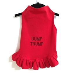 Dump Trump Dress or Tank in Many Colors    wooflink, susan lanci, dog clothes, small dog clothes, urban pup, pooch outfitters, dogo, hip doggie, doggie design, small dog dress, pet clotes, dog boutique. pet boutique, bloomingtails dog boutique, dog raincoat, dog rain coat, pet raincoat, dog shampoo, pet shampoo, dog bathrobe, pet bathrobe, dog carrier, small dog carrier, doggie couture, pet couture, dog football, dog toys, pet toys, dog clothes sale, pet clothes sale, shop local, pet store, dog store, dog chews, pet chews, worthy dog, dog bandana, pet bandana, dog halloween, pet halloween, dog holiday, pet holiday, dog teepee, custom dog clothes, pet pjs, dog pjs, pet pajamas, dog pajamas,dog sweater, pet sweater, dog hat, fabdog, fab dog, dog puffer coat, dog winter jacket, dog col