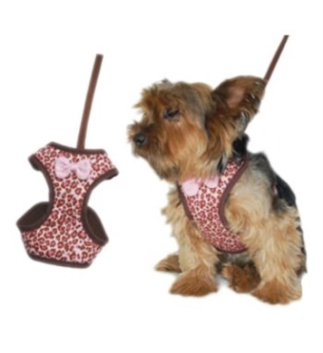 Easy Go Leopard Harness-Pink or Brown - dgo-easygo-leopard