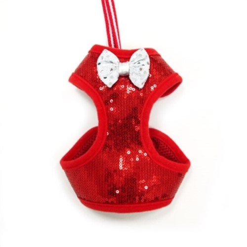EasyGo Black or Red  Sequins Harness & Lead - dgo-sequinshar