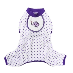 Elephant Dog Pajamas in Purple  wooflink, susan lanci, dog clothes, small dog clothes, urban pup, pooch outfitters, dogo, hip doggie, doggie design, small dog dress, pet clotes, dog boutique. pet boutique, bloomingtails dog boutique, dog raincoat, dog rain coat, pet raincoat, dog shampoo, pet shampoo, dog bathrobe, pet bathrobe, dog carrier, small dog carrier, doggie couture, pet couture, dog football, dog toys, pet toys, dog clothes sale, pet clothes sale, shop local, pet store, dog store, dog chews, pet chews, worthy dog, dog bandana, pet bandana, dog halloween, pet halloween, dog holiday, pet holiday, dog teepee, custom dog clothes, pet pjs, dog pjs, pet pajamas, dog pajamas,dog sweater, pet sweater, dog hat, fabdog, fab dog, dog puffer coat, dog winter jacket, dog col