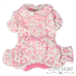 Endless Hearts Smocked Dog Pajamas