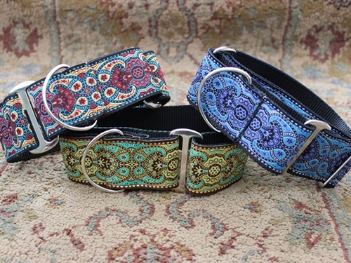 Extra Wide Kashmir Collection Dog Collar-Personalizable -5 choices - diva-kashmir