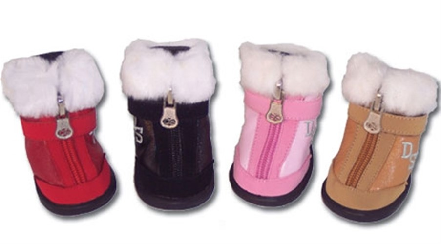 Faux Fur Tipped Dog Hiker Style Boots