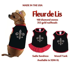 Fleur de Lis Dog Sundress or Tank wooflink, susan lanci, dog clothes, small dog clothes, urban pup, pooch outfitters, dogo, hip doggie, doggie design, small dog dress, pet clotes, dog boutique. pet boutique, bloomingtails dog boutique, dog raincoat, dog rain coat, pet raincoat, dog shampoo, pet shampoo, dog bathrobe, pet bathrobe, dog carrier, small dog carrier, doggie couture, pet couture, dog football, dog toys, pet toys, dog clothes sale, pet clothes sale, shop local, pet store, dog store, dog chews, pet chews, worthy dog, dog bandana, pet bandana, dog halloween, pet halloween, dog holiday, pet holiday, dog teepee, custom dog clothes, pet pjs, dog pjs, pet pajamas, dog pajamas,dog sweater, pet sweater, dog hat, fabdog, fab dog, dog puffer coat, dog winter jacket, dog col
