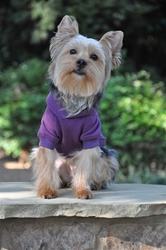 Flex-Fit Dog Hoodie - Purple Roxy & Lulu, wooflink, susan lanci, dog clothes, small dog clothes, urban pup, pooch outfitters, dogo, hip doggie, doggie design, small dog dress, pet clotes, dog boutique. pet boutique, bloomingtails dog boutique, dog raincoat, dog rain coat, pet raincoat, dog shampoo, pet shampoo, dog bathrobe, pet bathrobe, dog carrier, small dog carrier, doggie couture, pet couture, dog football, dog toys, pet toys, dog clothes sale, pet clothes sale, shop local, pet store, dog store, dog chews, pet chews, worthy dog, dog bandana, pet bandana, dog halloween, pet halloween, dog holiday, pet holiday, dog teepee, custom dog clothes, pet pjs, dog pjs, pet pajamas, dog pajamas,dog sweater, pet sweater, dog hat, fabdog, fab dog, dog puffer coat, dog winter ja