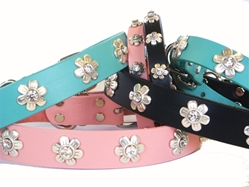 Flower Full Grain Leather Collar & Lead in many Colors