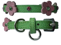 Flower Leather Collar - Green & Pink Leather