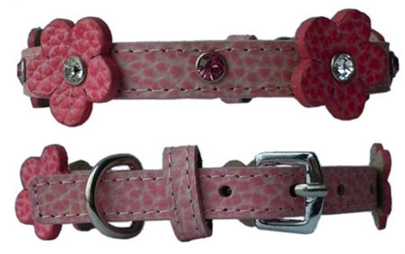 Flower Leather Collar - Pink Leather - ccc-flrlthr-pkX-ZU7