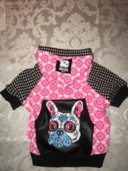 Frenchie LUV Hoodie in Hot Pink & Black Roxy & Lulu, wooflink, susan lanci, dog clothes, small dog clothes, urban pup, pooch outfitters, dogo, hip doggie, doggie design, small dog dress, pet clotes, dog boutique. pet boutique, bloomingtails dog boutique, dog raincoat, dog rain coat, pet raincoat, dog shampoo, pet shampoo, dog bathrobe, pet bathrobe, dog carrier, small dog carrier, doggie couture, pet couture, dog football, dog toys, pet toys, dog clothes sale, pet clothes sale, shop local, pet store, dog store, dog chews, pet chews, worthy dog, dog bandana, pet bandana, dog halloween, pet halloween, dog holiday, pet holiday, dog teepee, custom dog clothes, pet pjs, dog pjs, pet pajamas, dog pajamas,dog sweater, pet sweater, dog hat, fabdog, fab dog, dog puffer coat, dog winter ja
