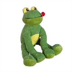 Frog Floppy Dog Toy Is your dog just the best? Then he or she deserves some floppy friends! With this plush frog your puppy will never run out of occasions to play -- and youll get a much needed break from gnawing on your fingers. Complete with an adorable fly detail on the back.  • Poly fill • 5 Squeakers • Fly detail on the back • Spot clean with soap and water