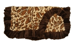 Giraffe Print with Brown Ruffles Blanket   wooflink, tonimari, small doog carrier, Tiny dog clothes, luxury pet boutique, pet clothes, dog clothes, puppy clothes, pet store, dog store, puppy boutique store, dog boutique, pet boutique, puppy boutique, Bloomingtails, dog, small dog clothes, large dog clothes, large dog costumes, small dog costumes, pet stuff, Halloween dog, puppy Halloween, pet Halloween, clothes, dog puppy Halloween, dog sale, pet sale, puppy sale, pet dog tank, pet tank, pet shirt, dog shirt, puppy shirt,puppy tank, I see spot, dog collars, dog leads, pet collar, pet lead,puppy collar, puppy lead, dog toys, pet toys, puppy toy, dog beds, pet beds, puppy bed,  beds,dog mat, pet mat, puppy mat, fab dog pet sweater, dog sweater, dog winter, pet winter,dog raincoat, pet