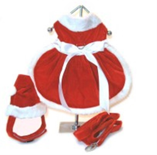 Girl Santa Dog Harness Dress, Hat & Lead - dogdes-santa-girl-harnessX-1KQ