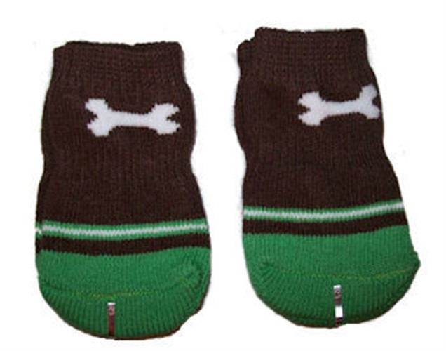 Green & Brown Dog Bone Socks