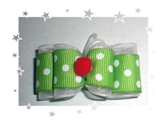 Green Dots & Red Pom Pom Hair Bow dog bowls,susan lanci, puppia,wooflink, luxury dog boutique,tonimari,pet clothes, dog clothes, puppy clothes, pet store, dog store, puppy boutique store, dog boutique, pet boutique, puppy boutique, Bloomingtails, dog, small dog clothes, large dog clothes, large dog costumes, small dog costumes, pet stuff, Halloween dog, puppy Halloween, pet Halloween, clothes, dog puppy Halloween, dog sale, pet sale, puppy sale, pet dog tank, pet tank, pet shirt, dog shirt, puppy shirt,puppy tank, I see spot, dog collars, dog leads, pet collar, pet lead,puppy collar, puppy lead, dog toys, pet toys, puppy toy, dog beds, pet beds, puppy bed,  beds,dog mat, pet mat, puppy mat, fab dog pet sweater, dog sweater, dog winter, pet winter,dog raincoat, pet raincoat,