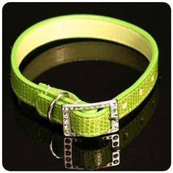 Green Lizard Dog Collar with Swarovski Crystal Buckle