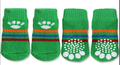 Green & White Paw Print Dog Socks