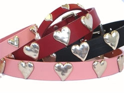 Heart Full Grain Leather Collar & Lead in many Colors