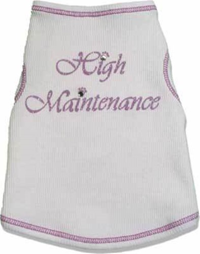 High Maintenance White & Lavender Bling Shirt - iss-highmaintenanceL-L46