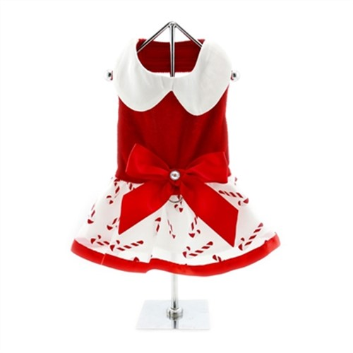 Holiday Christmas Candy Cane Dog Dress with Leash  - dd-candycane-dress