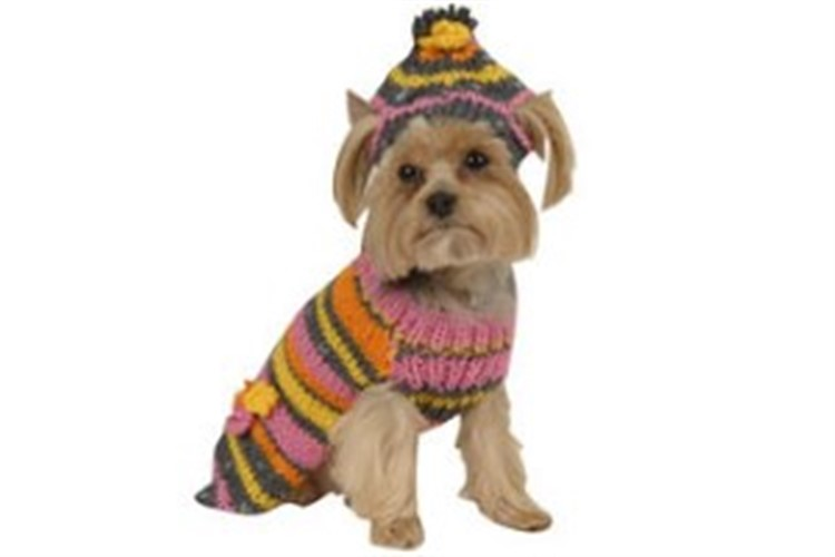 Hot Pink Retro Dog Sweater & Hat - max-retro