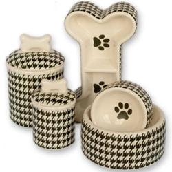 Houndstooth Bowl & Treat Jar Series  dog bowls,susan lanci, puppia,wooflink, luxury dog boutique,tonimari,pet clothes, dog clothes, puppy clothes, pet store, dog store, puppy boutique store, dog boutique, pet boutique, puppy boutique, Bloomingtails, dog, small dog clothes, large dog clothes, large dog costumes, small dog costumes, pet stuff, Halloween dog, puppy Halloween, pet Halloween, clothes, dog puppy Halloween, dog sale, pet sale, puppy sale, pet dog tank, pet tank, pet shirt, dog shirt, puppy shirt,puppy tank, I see spot, dog collars, dog leads, pet collar, pet lead,puppy collar, puppy lead, dog toys, pet toys, puppy toy, dog beds, pet beds, puppy bed,  beds,dog mat, pet mat, puppy mat, fab dog pet sweater, dog sweater, dog winter, pet winter,dog raincoat, pet raincoat