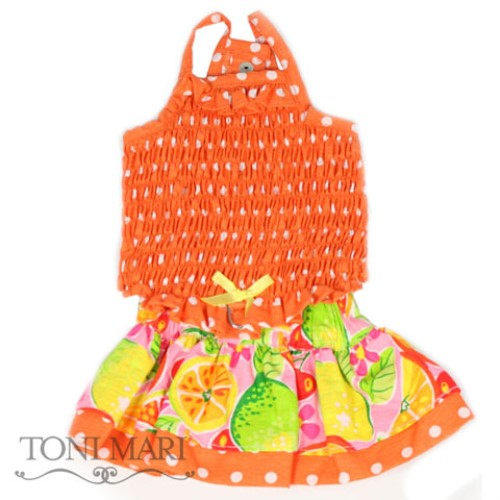 I Love Fruits Two Piece Dress - Orange & Yellow - tm-fruitorange