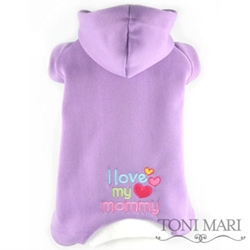 I Love My Mommy Embroidered Fleece Hooded Pajama - lavender/white  dog bowls,susan lanci, puppia,wooflink, luxury dog boutique,tonimari,pet clothes, dog clothes, puppy clothes, pet store, dog store, puppy boutique store, dog boutique, pet boutique, puppy boutique, Bloomingtails, dog, small dog clothes, large dog clothes, large dog costumes, small dog costumes, pet stuff, Halloween dog, puppy Halloween, pet Halloween, clothes, dog puppy Halloween, dog sale, pet sale, puppy sale, pet dog tank, pet tank, pet shirt, dog shirt, puppy shirt,puppy tank, I see spot, dog collars, dog leads, pet collar, pet lead,puppy collar, puppy lead, dog toys, pet toys, puppy toy, dog beds, pet beds, puppy bed,  beds,dog mat, pet mat, puppy mat, fab dog pet sweater, dog sweater, dog winter, pet winter,dog raincoat, pet raincoat