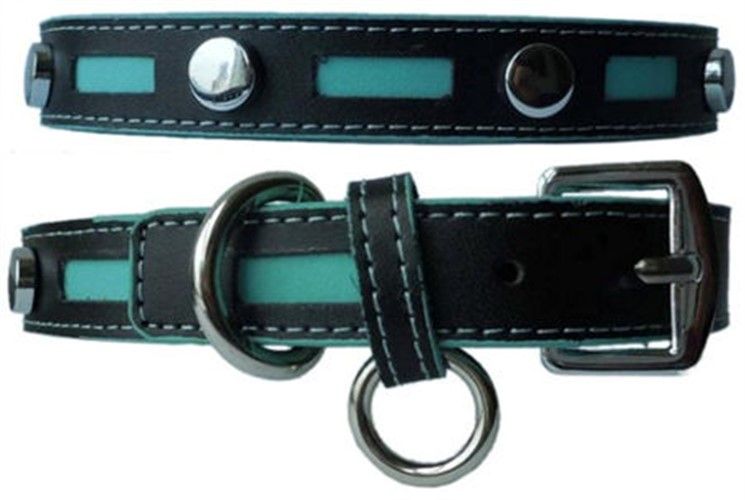 Inlaid Leather Collar with Metal Studs in 2 Colors - ccc-blaqstblk
