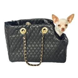 Kate Dog Carrier in Quilted Black