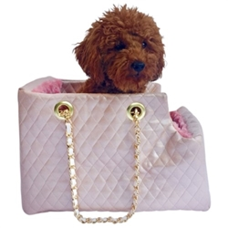 Kate Dog Carrier in Quilted Pink
