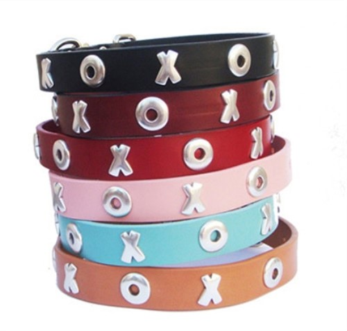 Kiss & Hug Full Grain Leather Collar & Lead in many Colors