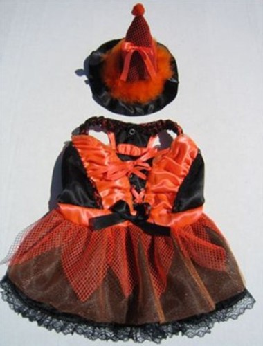 LED Lighted Orange & Black Witch Costume - pam-oranwitch