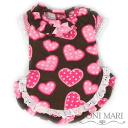 Lacey Dotted Hearts Dog Nightie