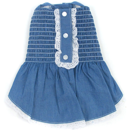 Light Up My Sky Chambray Hand Smocked Dress - on-chambray