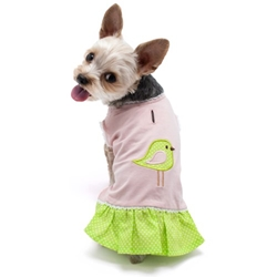 Little Birdy Dress  wooflink, susan lanci, dog clothes, small dog clothes, urban pup, pooch outfitters, dogo, hip doggie, doggie design, small dog dress, pet clotes, dog boutique. pet boutique, bloomingtails dog boutique, dog raincoat, dog rain coat, pet raincoat, dog shampoo, pet shampoo, dog bathrobe, pet bathrobe, dog carrier, small dog carrier, doggie couture, pet couture, dog football, dog toys, pet toys, dog clothes sale, pet clothes sale, shop local, pet store, dog store, dog chews, pet chews, worthy dog, dog bandana, pet bandana, dog halloween, pet halloween, dog holiday, pet holiday, dog teepee, custom dog clothes, pet pjs, dog pjs, pet pajamas, dog pajamas,dog sweater, pet sweater, dog hat, fabdog, fab dog, dog puffer coat, dog winter jacket, dog col