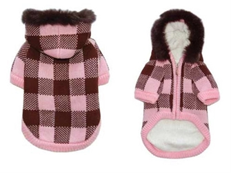 Lux Checkered Sweater Coat - Pink & Brown