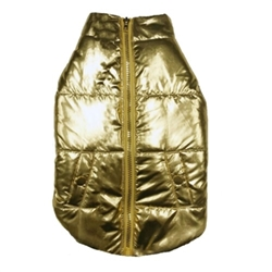 Metallic Gold Puffer Coat  wooflink, susan lanci, dog clothes, small dog clothes, urban pup, pooch outfitters, dogo, hip doggie, doggie design, small dog dress, pet clotes, dog boutique. pet boutique, bloomingtails dog boutique, dog raincoat, dog rain coat, pet raincoat, dog shampoo, pet shampoo, dog bathrobe, pet bathrobe, dog carrier, small dog carrier, doggie couture, pet couture, dog football, dog toys, pet toys, dog clothes sale, pet clothes sale, shop local, pet store, dog store, dog chews, pet chews, worthy dog, dog bandana, pet bandana, dog halloween, pet halloween, dog holiday, pet holiday, dog teepee, custom dog clothes, pet pjs, dog pjs, pet pajamas, dog pajamas,dog sweater, pet sweater, dog hat, fabdog, fab dog, dog puffer coat, dog winter jacket, dog col