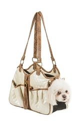 Metro Couture Carrier in Quilted Ivory with Tassle wooflink, susan lanci, dog clothes, small dog clothes, urban pup, pooch outfitters, dogo, hip doggie, doggie design, small dog dress, pet clotes, dog boutique. pet boutique, bloomingtails dog boutique, dog raincoat, dog rain coat, pet raincoat, dog shampoo, pet shampoo, dog bathrobe, pet bathrobe, dog carrier, small dog carrier, doggie couture, pet couture, dog football, dog toys, pet toys, dog clothes sale, pet clothes sale, shop local, pet store, dog store, dog chews, pet chews, worthy dog, dog bandana, pet bandana, dog halloween, pet halloween, dog holiday, pet holiday, dog teepee, custom dog clothes, pet pjs, dog pjs, pet pajamas, dog pajamas,dog sweater, pet sweater, dog hat, fabdog, fab dog, dog puffer coat, dog winter jacket, dog col