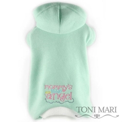 Mommys Little Angel Embroidered Fleece Hooded Pajamas - Mint Green
