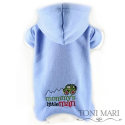 Mommys Little Man Embroidered Fleece Hooded Pajamas