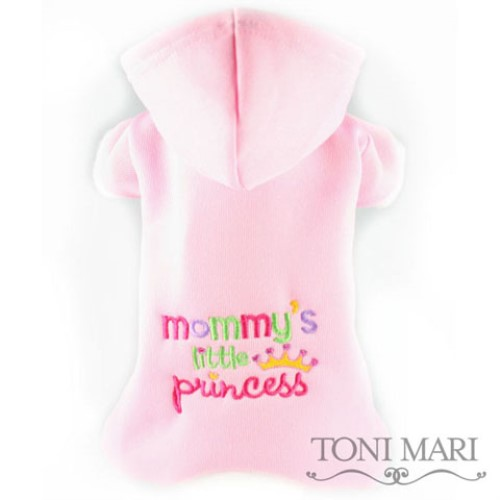 Mommys Little Princess Embroidered Fleece Hooded Pajamas