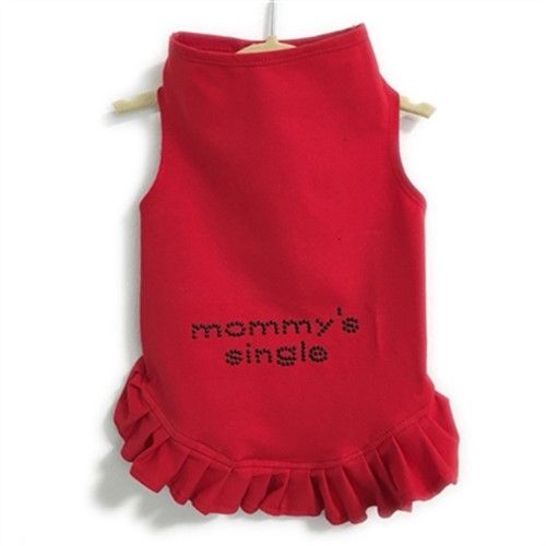 Mommys Single Stud Dog Flounce Dress in Many Colors     Easy fit with stretch, never fades, and always looks great. Protect you pup from the sun! If your pup has a thick fur coat-size up.  Sizes: Teacup fits dogs 2-3 lbs XSmall 4-7 lbs Small 8-10 lbs Medium 11-15 lbs Large 16-21 lbs XLarge 22-30 lbs