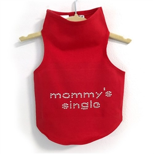 Mommys  Single Stud Dog Tank in Many Colors    Easy fit with stretch, never fades, and always looks great. Protect you pup from the sun! If your pup has a thick fur coat-size up.  Sizes: Teacup fits dogs 2-3 lbs XSmall 4-7 lbs Small 8-10 lbs Medium 11-15 lbs Large 16-21 lbs XLarge 22-30 lbs