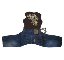Monkey Daze Dragon Denim  Dog Jumper