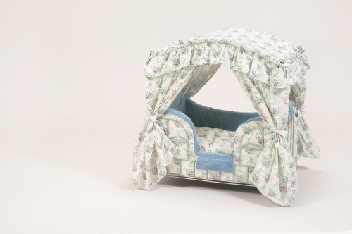 Multi Color Toile Dog Canopy Bed